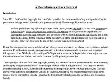 Paper: A Clear Message on Crown Copyright