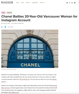 Chanel suing Vancouver woman for her Instagram name