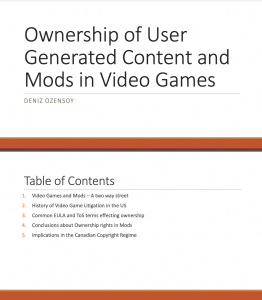 Presentation: Ownership of User Generated Content and Mods in Video Games