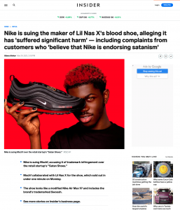 """Nike is suing MSCHF, the maker of Lil Nas X's """"blood shoe"""""""
