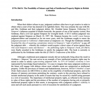 Paper: Should intellectual property be exigible for seizure pursuant to a writ of execution to satisfy a judgment debt?