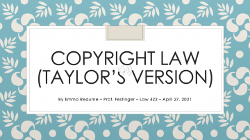 [Presentation] Taylor Swift and Copyright/Moral Rights