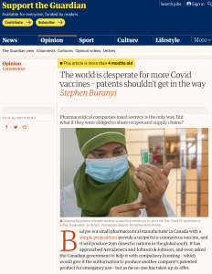"""""""The world is desperate for more Covid vaccines – patents shouldn't get in the way"""" (op-ed in The Guardian)"""