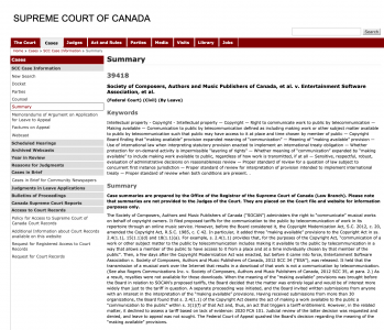 """SCC grants leave to appeal in SOCAN v ESA (2020 FCA 100) – Meaning of """"making available"""""""